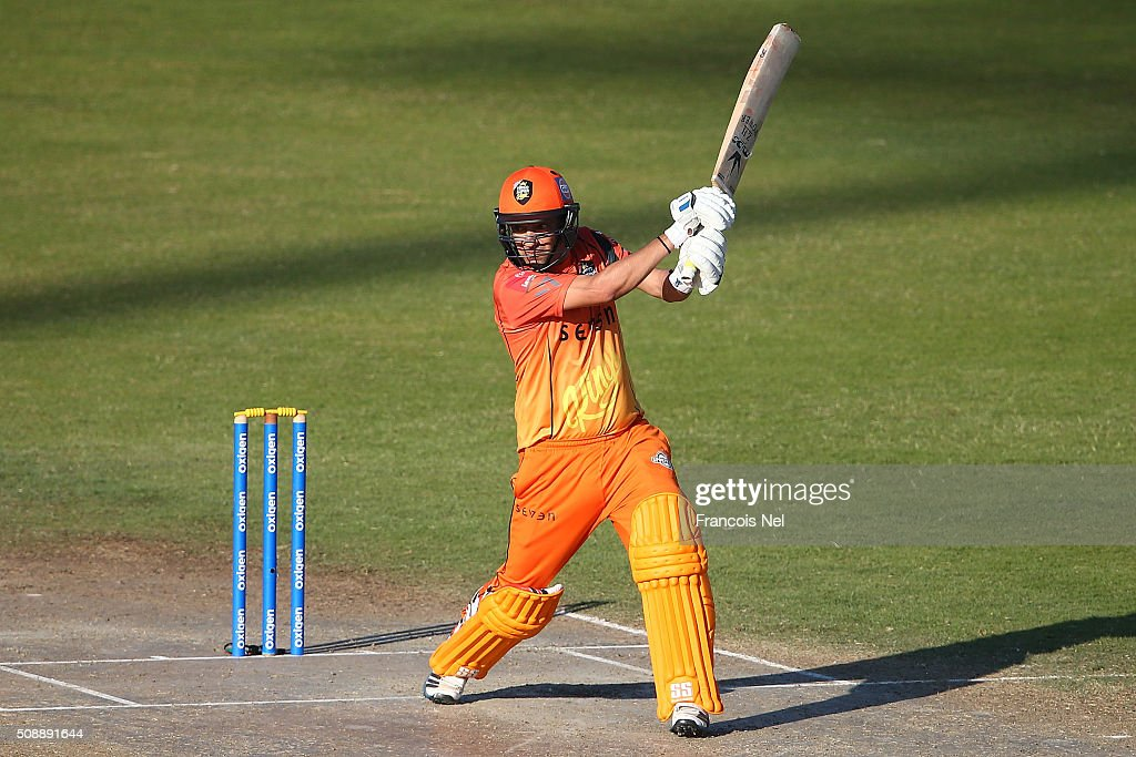 Hasan Raza of Virgo bats during the Oxigen Masters Champions League match between Virgo Super Kings and Capricorn Commanders on February 7, 2016 in Sharjah, United Arab Emirates.