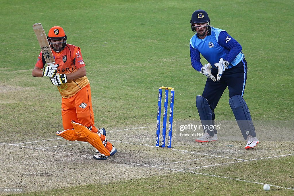 Hasan Raza of Virgo Super Kings bats during the Oxigen Masters Champions League Semi Final match between Leo Lions and Virgo Super Kings at Dubai International Cricket Stadium on February 12, 2016 in Dubai, United Arab Emirates.