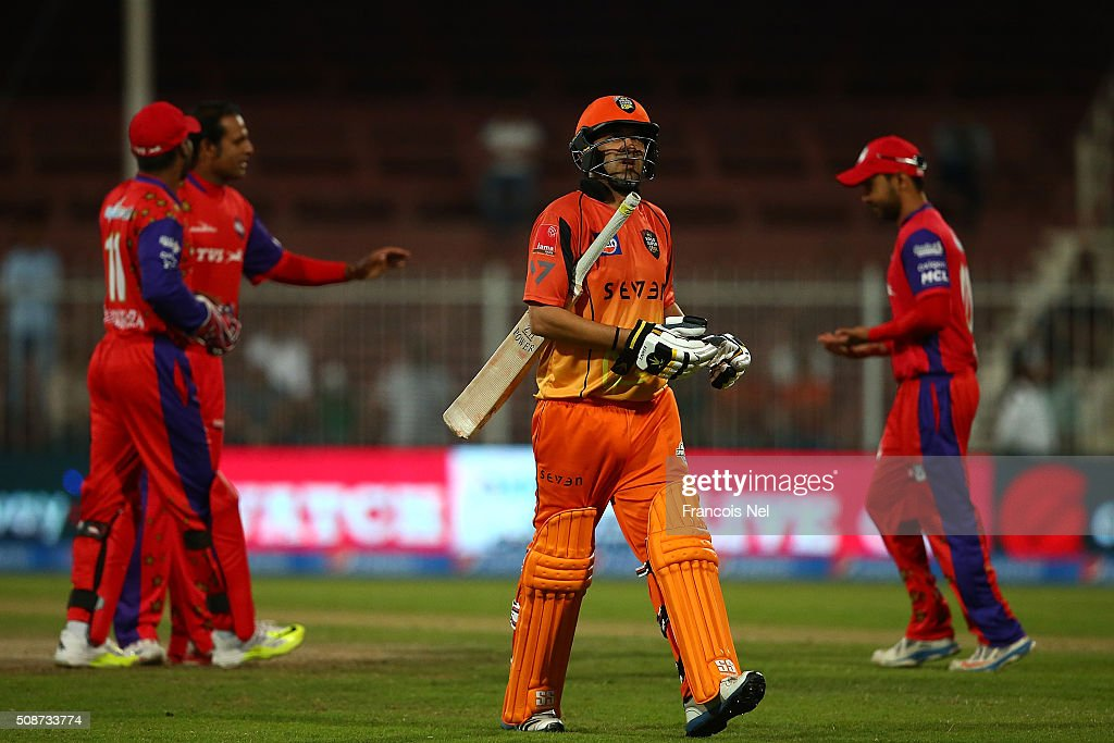 Hasan Raza of Virgo Super Kings leaves the field after being dismissed during the Oxigen Masters Champions League match between Gemini Arabians and Virgo Super Kings on February 6, 2016 in Sharjah, United Arab Emirates.