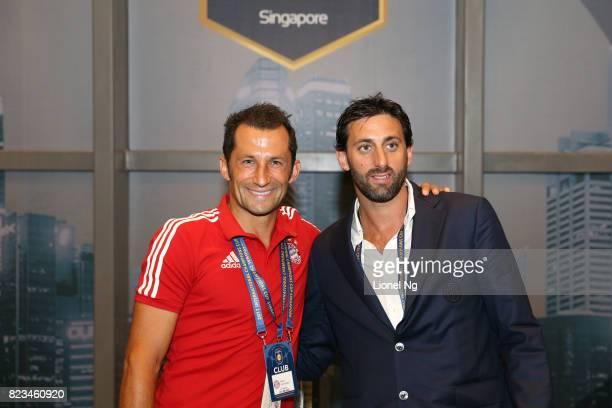 Hasan Salihamidzic FC Bayern Munich legend and Diego Milito FC Internazionale legend at the half time team talk at the Corporate Hospitality at...