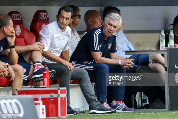 Hasan Salihamidzic of Bayern Muenchen and Head coach Carlo Ancelotti of Bayern Muenchen looks on during the Audi Cup 2017 match between SSC Napoli...