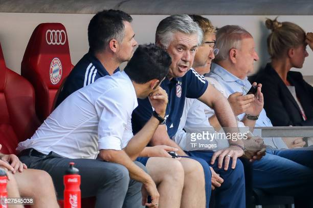 Hasan Salihamidzic of Bayern Muenchen speak with Head coach Carlo Ancelotti of Bayern Muenchen during the Audi Cup 2017 match between SSC Napoli and...