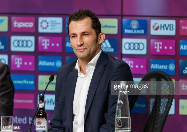 Hasan Salihamidzic of Bayern Muenchen speaks to the media during a Bayern Muenchen press conference at the Alianz Arena in Munich on October 9 2017...