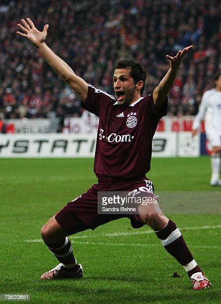 Hasan Salihamidzic of Bayern Munich gestures during the UEFA Champions League round of sixteen second leg match between Bayern Munich and Real Madrid...