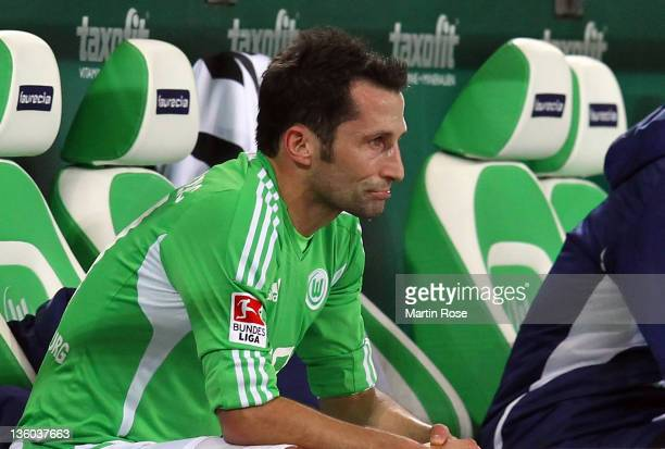 Hasan Salihamidzic of Wolfsburg looks dejected after he was substituted during the Bundesliga match between VfL Wolfsburg and VfB Stuttgart at the...