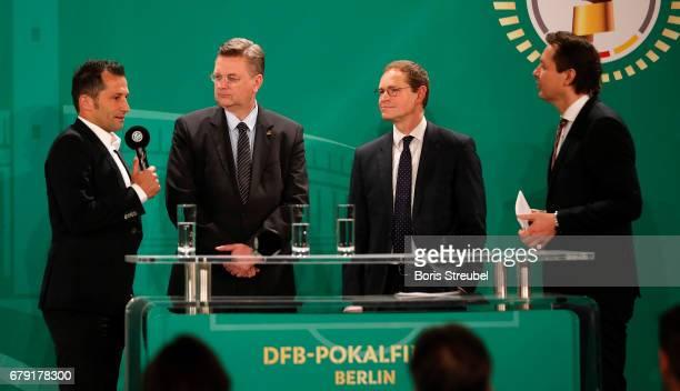 Hasan Salihamidzic representative of FC Bayern Reinhard Grindel president of the German Football Association Michael Mueller mayor of Berlin and Ralf...