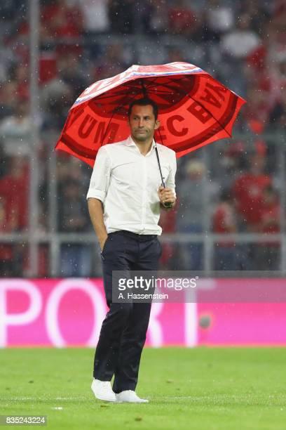 Hasan Salihamidzic Sporting director of Bayern Muenchen looks on after the Bundesliga match between FC Bayern Muenchen and Bayer 04 Leverkusen at...