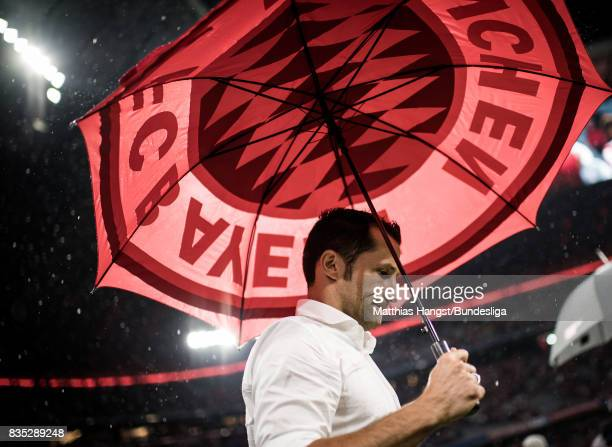 Hasan Salihamidzic Sporting director of Bayern Muenchen looks on after the Bundesliga match between FC Bayern Muenchen and Bayer 04 Leverkusen at...