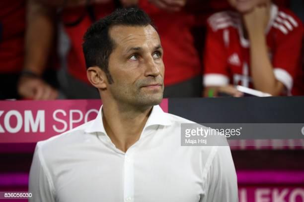 Hasan Salihamidzic Sporting director of Bayern Muenchen looks on prior the Bundesliga match between FC Bayern Muenchen and Bayer 04 Leverkusen at...
