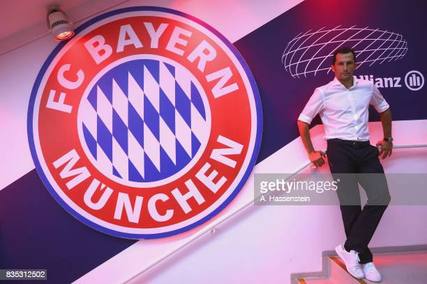 Hasan Salihamidzic Sporting director of Bayern Muenchen looks on prior to the Bundesliga match between FC Bayern Muenchen and Bayer 04 Leverkusen at...