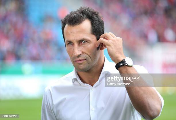 Hasan Salihamidzic sporting director of FC Bayern Muenchen looks on prior to the DFB Cup first round match between Chemnitzer FC and FC Bayern...