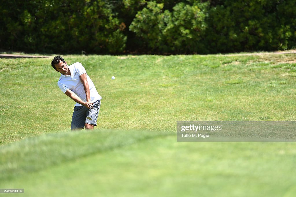 Hasan Salihamidzic tees off during The Costa Smeralda Invitational golf tournament at Pevero Golf Club - Costa Smeralda on June 25, 2016 in Olbia, Italy.