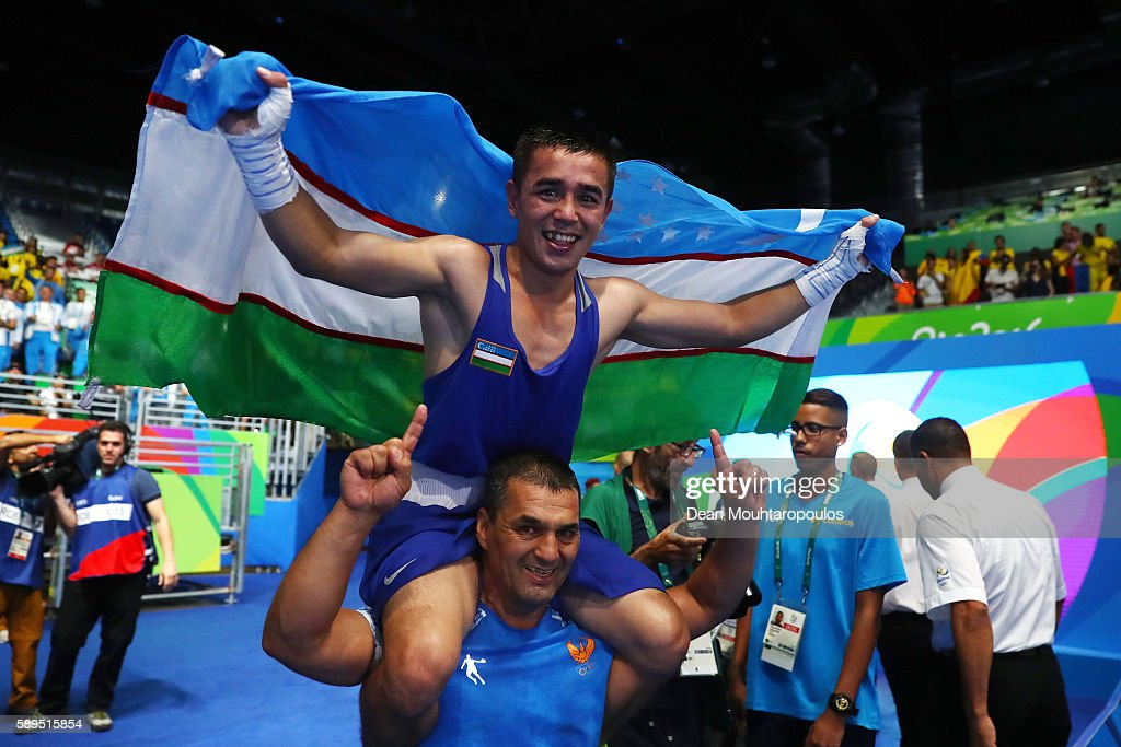 Hasanboy Dusmatov of Uzbekistan celebrates winning gold in the Men's Boxing Light Fly Final on Day 9 of the Rio 2016 Olympic Games at Riocentro...