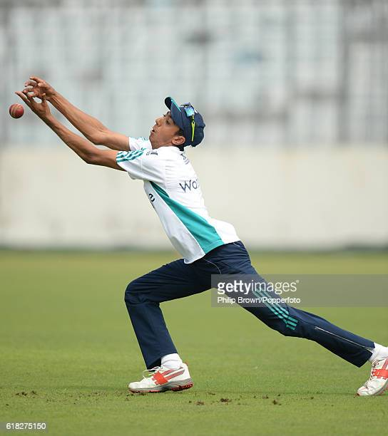 Haseeb Hameed drops a catch during a training session before the second test match between Bangladesh and England at Shere Bangla National Stadium on...