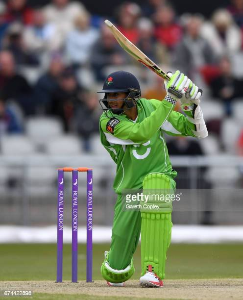 Haseeb Hameed of Lancashire bats during the Royal London OneDay Cup match between Lancashire and Leicestershire at Old Trafford on April 28 2017 in...