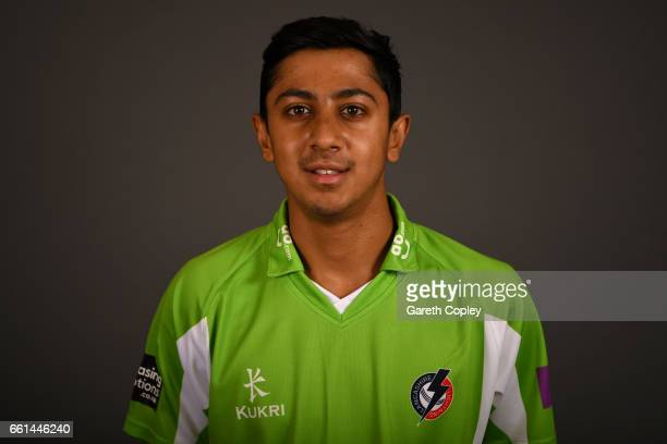 Haseeb Hameed of Lancashire poses for a portrait during the Lancashire CCC Photocall at Old Trafford on March 31 2017 in Manchester England