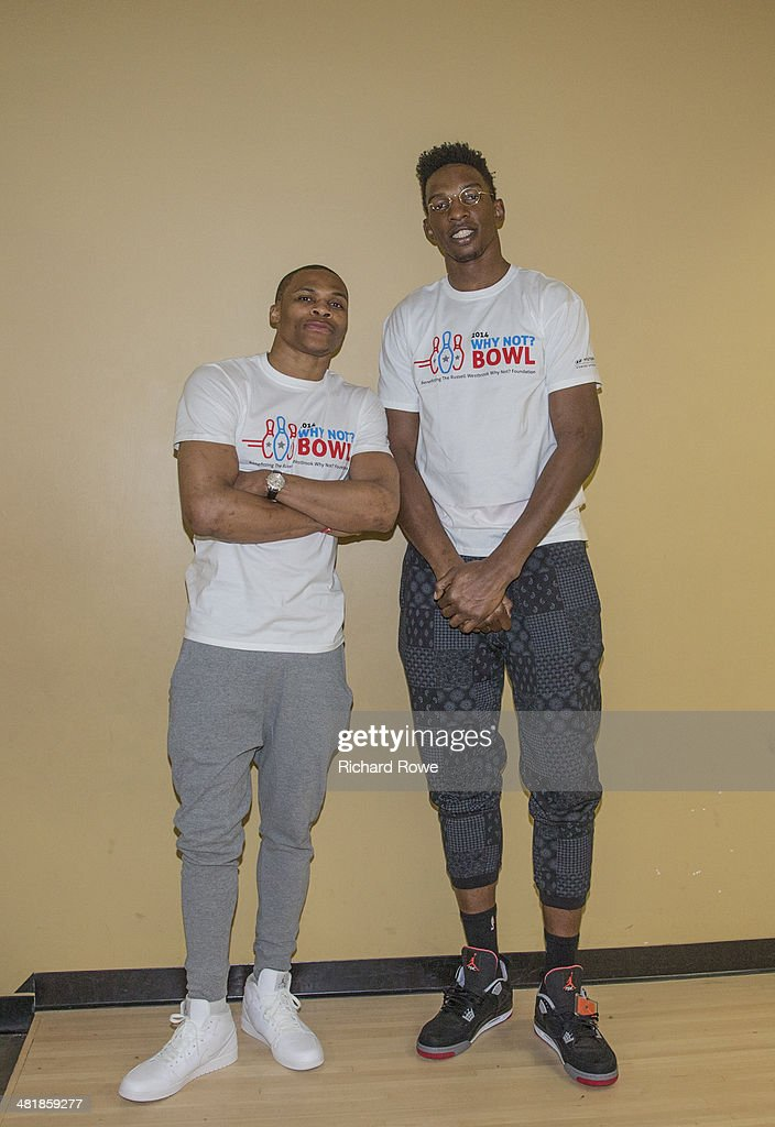Hasheem Thabeet #34 joins Russell Westbrook #0 of the Oklahoma City Thunder at his annual Why Not Foundation fundraiser to benefit the Boys and Girls Club at AMC Boulevard Bowl in Edmond, Oklahoma.