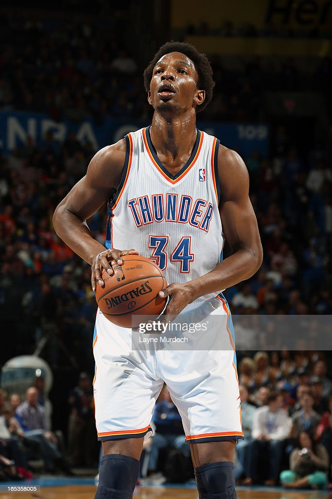 <a gi-track='captionPersonalityLinkClicked' href=/galleries/search?phrase=Hasheem+Thabeet&family=editorial&specificpeople=4003778 ng-click='$event.stopPropagation()'>Hasheem Thabeet</a> #34 of the Oklahoma City Thunder attempts a foul shot against the Portland Trail Blazers on March 24, 2013 at the Chesapeake Energy Arena in Oklahoma City, Oklahoma.