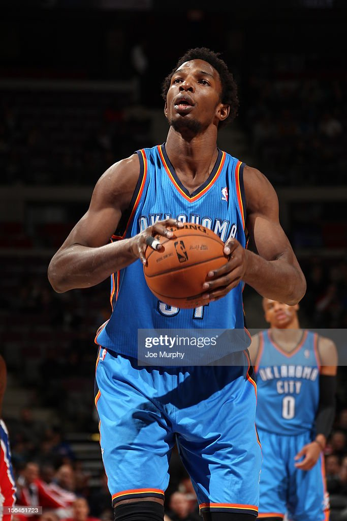 <a gi-track='captionPersonalityLinkClicked' href=/galleries/search?phrase=Hasheem+Thabeet&family=editorial&specificpeople=4003778 ng-click='$event.stopPropagation()'>Hasheem Thabeet</a> #34 of the Oklahoma City Thunder attempts a fouol shot against the Detroit Pistons on November 12, 2012 at The Palace of Auburn Hills in Auburn Hills, Michigan.