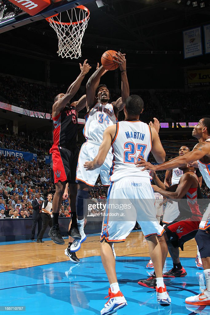 Hasheem Thabeet #34 of the Oklahoma City Thunder attempts to grab the rebound against the Toronto Raptors on November 6, 2012 at the Chesapeake Energy Arena in Oklahoma City, Oklahoma.
