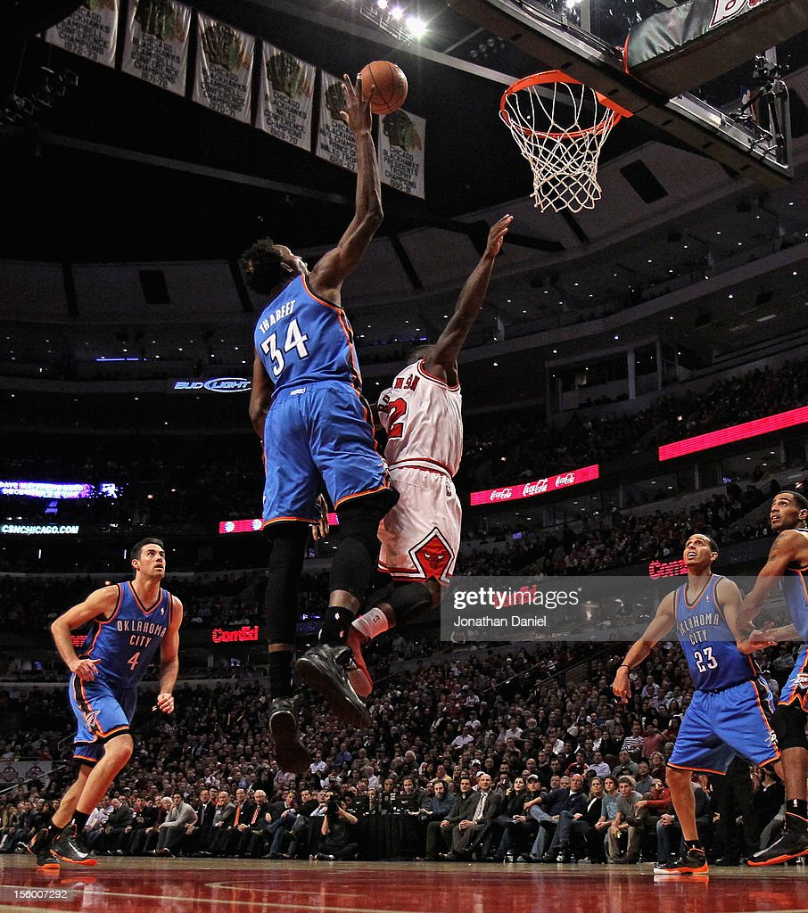 Hasheem Thabeet #34 of the Oklahoma City Thunder blocks a shot by Nate Robinson #2 of the Chicago Bulls at the United Center on November 8, 2012 in Chicago, Illinois. The Thunder defeated the Bulls 97-91.