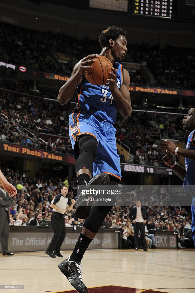 Hasheem Thabeet #34 of the Oklahoma City Thunder grabs a rebound against the Cleveland Cavaliers at The Quicken Loans Arena on February 2, 2013in Cleveland, Ohio.