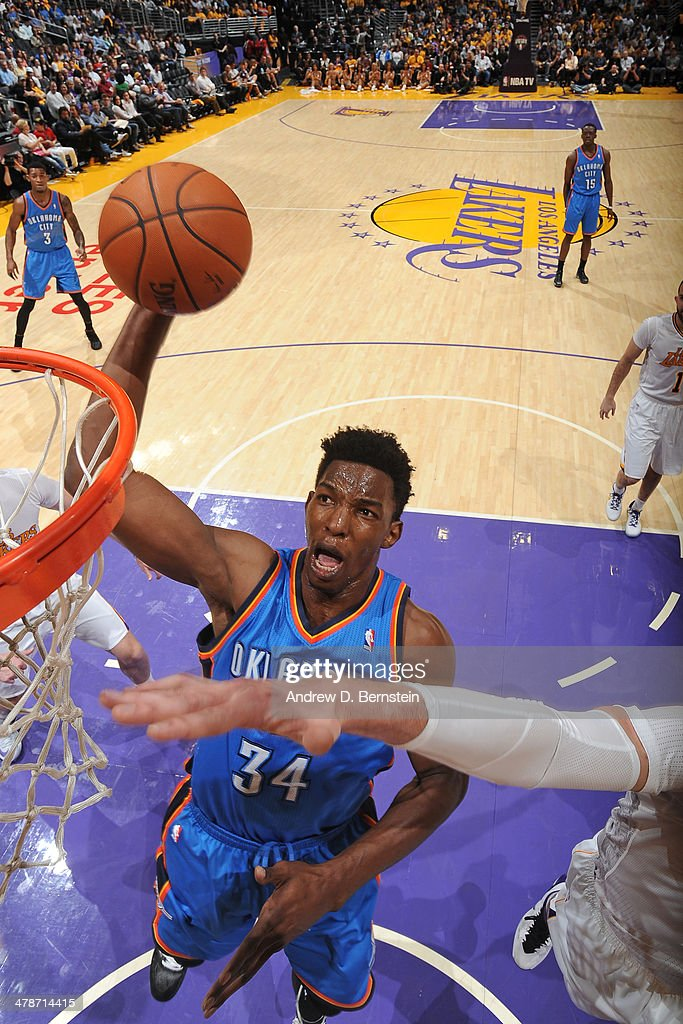 <a gi-track='captionPersonalityLinkClicked' href=/galleries/search?phrase=Hasheem+Thabeet&family=editorial&specificpeople=4003778 ng-click='$event.stopPropagation()'>Hasheem Thabeet</a> #34 of the Oklahoma City Thunder shoots against the Los Angeles Lakers at STAPLES Center on March 9, 2014 in Los Angeles, California.