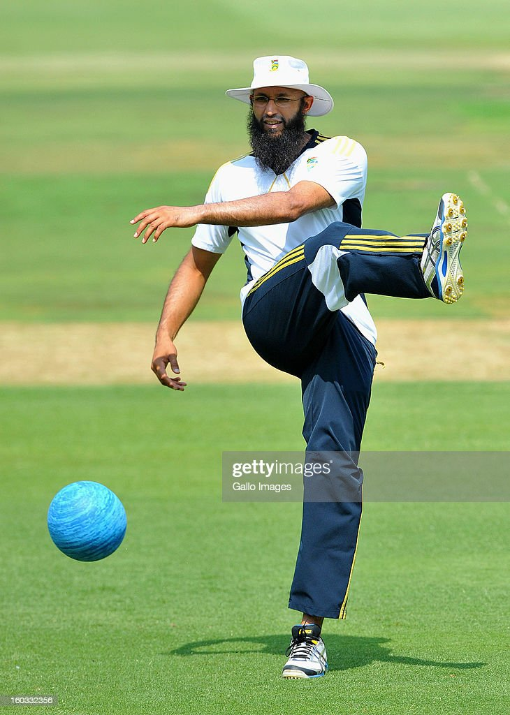 <a gi-track='captionPersonalityLinkClicked' href=/galleries/search?phrase=Hashim+Amla&family=editorial&specificpeople=647392 ng-click='$event.stopPropagation()'>Hashim Amla</a> during a South Africa National cricket team training session ahead of Graeme Smith's 100th Test as captain at Sandton City on January 29, 2013 in Johannesburg, South Africa.