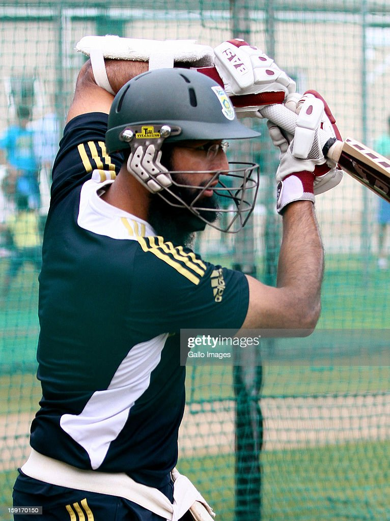 Hashim Amla during the South African national cricket team training session at Axxess St Georges on January 09, 2013 in Port Elizabeth, South Africa.