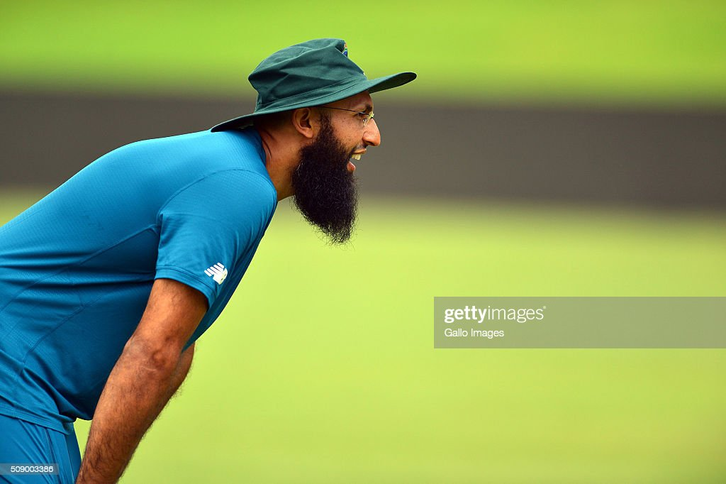 Hashim Amla during the South African national cricket team training session and press conference at SuperSport Park on February 08, 2016 in Pretoria, South Africa.