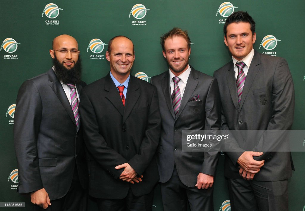 Hashim Amla, Gary Kirsten, AB de Villiers and Graeme Smith attend the Cricket South Africa press conference at The Pivot Hotel Southern Sun on June 06, 2011 in Johannesburg, South Africa.