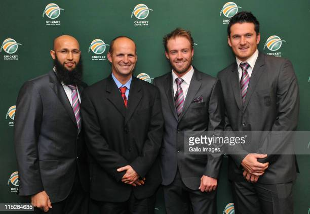 Hashim Amla Gary Kirsten AB de Villiers and Graeme Smith attend the Cricket South Africa press conference at The Pivot Hotel Southern Sun on June 06...