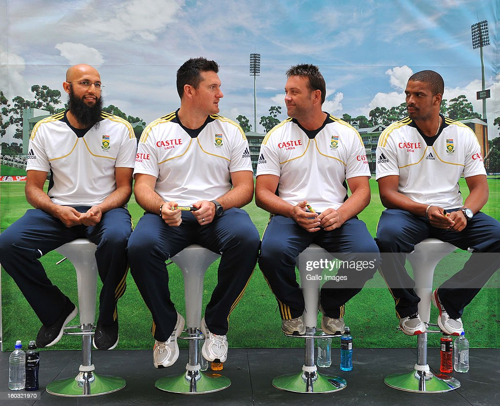 Hashim Amla, Graeme Smith, Jacques Kallis and Vernon Philander during a South Africa National cricket team signing session ahead of Graeme Smith's 100th Test as captain at Sandton City on January 29, 2013 in Johannesburg, South Africa.