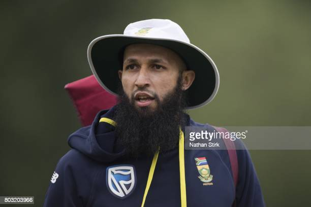 Hashim Amla of South Africa A looks on before the tour match between England Lions and South Africa A at New Road on June 29 2017 in Worcester England