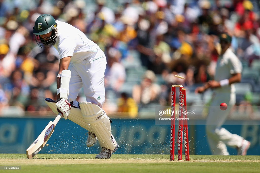 Hashim Amla of South Africa avoids a runout during day three of the Third Test Match between Australia and South Africa at the WACA on December 2, 2012 in Perth, Australia.
