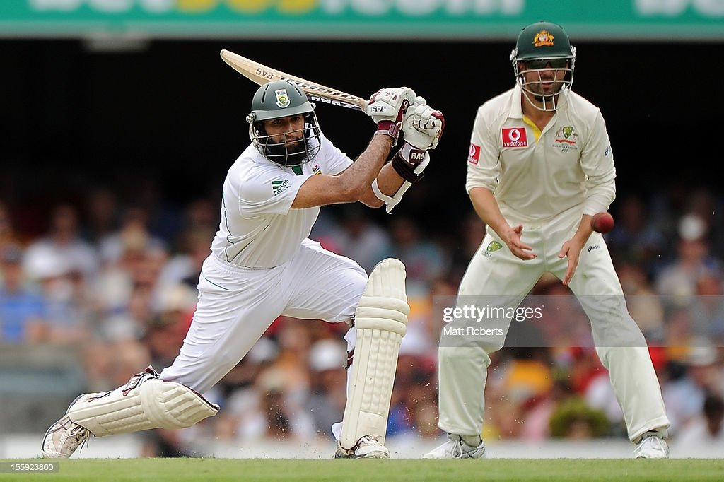 <a gi-track='captionPersonalityLinkClicked' href=/galleries/search?phrase=Hashim+Amla&family=editorial&specificpeople=647392 ng-click='$event.stopPropagation()'>Hashim Amla</a> of South Africa bats during day one of the First Test match between Australia and South Africa at The Gabba on November 9, 2012 in Brisbane, Australia.