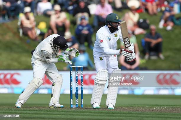 Hashim Amla of South Africa bats during day one of the First Test match between New Zealand and South Africa at University Oval on March 8 2017 in...