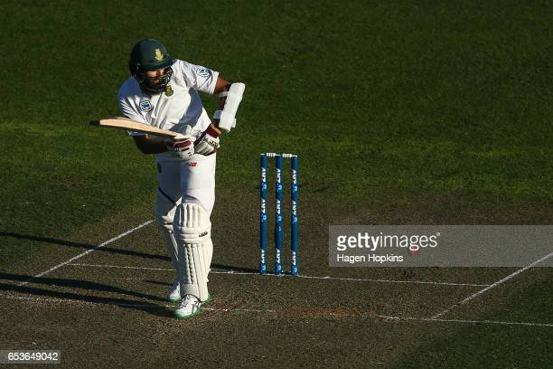 Hashim Amla of South Africa bats during day one of the Test match between New Zealand and South Africa at Basin Reserve on March 16 2017 in...