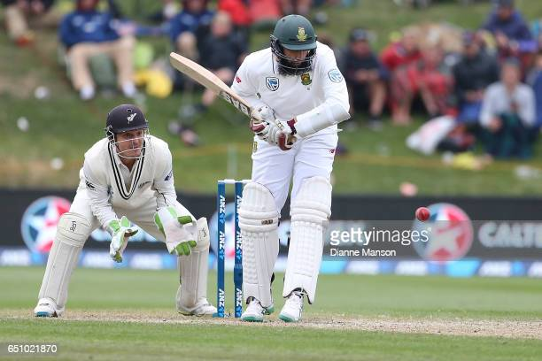 Hashim Amla of South Africa bats during day three of the First Test match between New Zealand and South Africa at University Oval on March 10 2017 in...