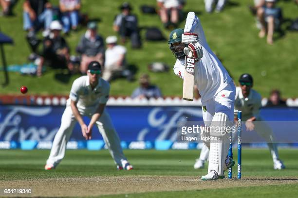 Hashim Amla of South Africa bats during day two of the test match between New Zealand and South Africa at Basin Reserve on March 17 2017 in...