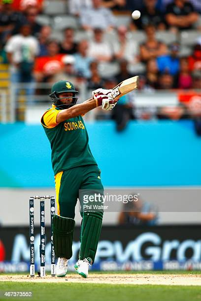 Hashim Amla of South Africa bats during the 2015 Cricket World Cup Semi Final match between New Zealand and South Africa at Eden Park on March 24...
