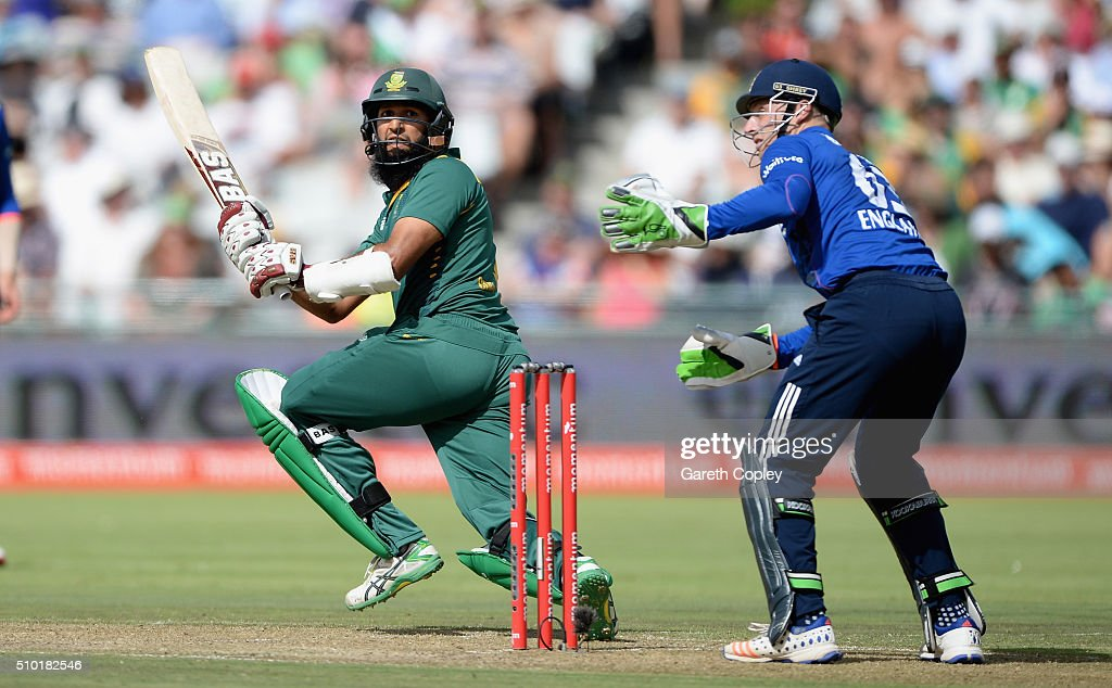 <a gi-track='captionPersonalityLinkClicked' href=/galleries/search?phrase=Hashim+Amla&family=editorial&specificpeople=647392 ng-click='$event.stopPropagation()'>Hashim Amla</a> of South Africa bats during the 5th Momentum ODI match between South Africa and England at Newlands Stadium on February 14, 2016 in Cape Town, South Africa.