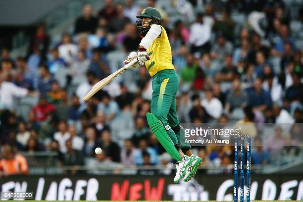 Hashim Amla of South Africa bats during the first International Twenty20 match between New Zealand and South Africa at Eden Park on February 17 2017...