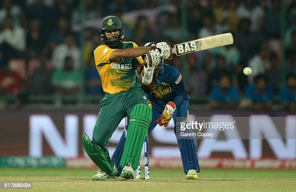 Hashim Amla of South Africa bats during the ICC World Twenty20 India 2016 Group 1 match between South Africa and Sri Lanka at Feroz Shah Kotla Ground...