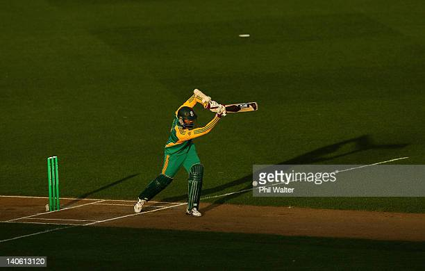 Hashim Amla of South Africa bats during the One Day International match between New Zealand and South Africa at Eden Park on March 3 2012 in Auckland...