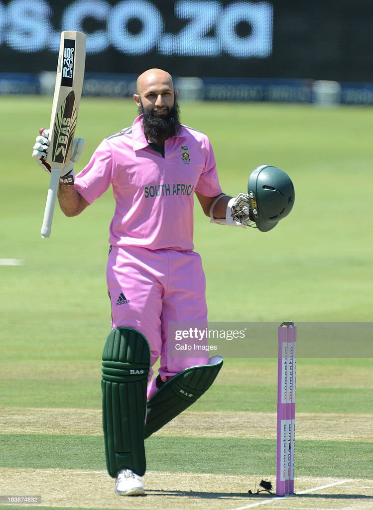 <a gi-track='captionPersonalityLinkClicked' href=/galleries/search?phrase=Hashim+Amla&family=editorial&specificpeople=647392 ng-click='$event.stopPropagation()'>Hashim Amla</a> of South Africa celebrates his 100 during the 3rd Momentum ODI match between South Africa and Pakistan at Bidvest Wanderers Stadium on March 17, 2013 in Johannesburg, South Africa.