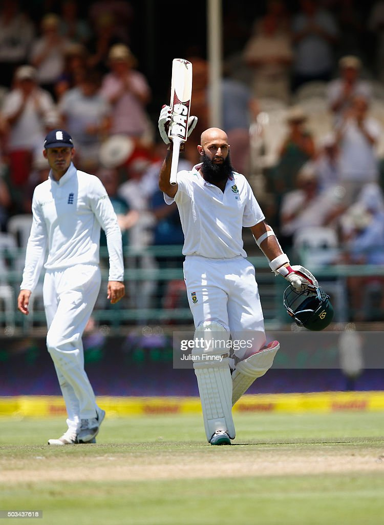 Hashim Amla of South Africa celebrates his 200 runs during day four of the 2nd Test at Newlands Stadium on January 5, 2016 in Cape Town, South Africa.