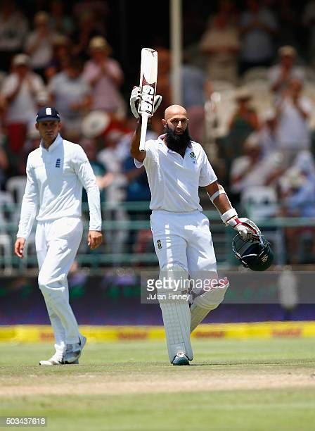 Hashim Amla of South Africa celebrates his 200 runs during day four of the 2nd Test at Newlands Stadium on January 5 2016 in Cape Town South Africa