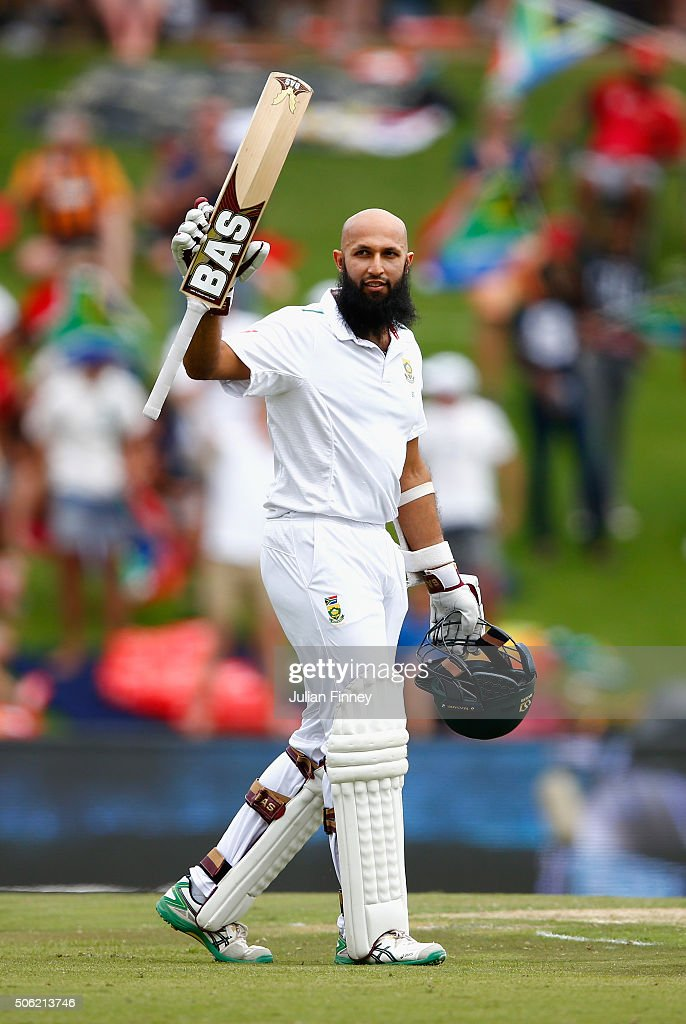 Hashim Amla of South Africa celebrates his century during day one of the 4th Test at Supersport Park on January 22, 2016 in Centurion, South Africa.