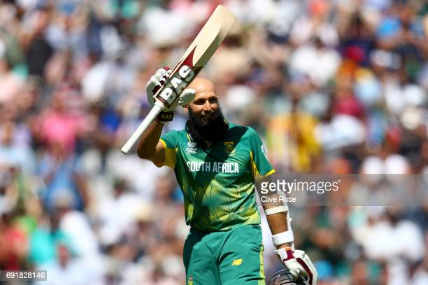 Hashim Amla of South Africa celebrates his century during the ICC Champions trophy cricket match between Sri Lanka and South Africa at The Oval in...